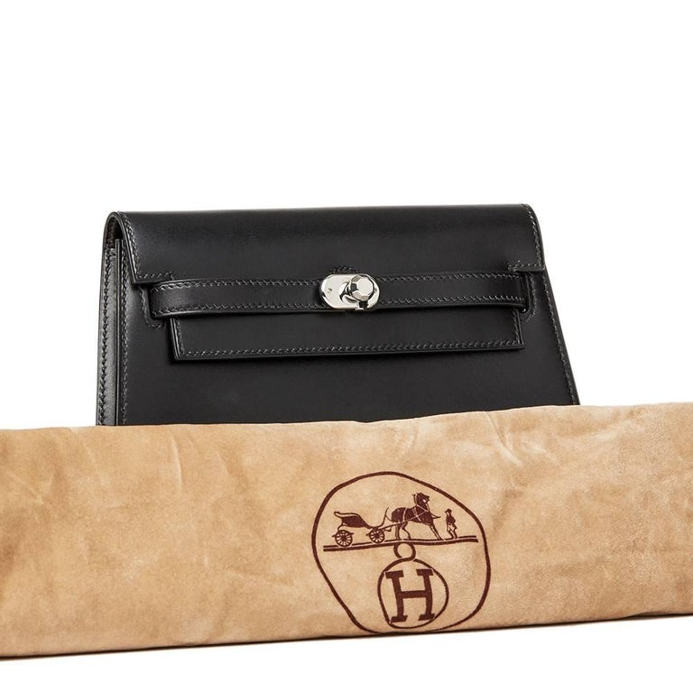 2000 Hermes Black Box Calf Leather Kelly Danse Clutch For Sale 5