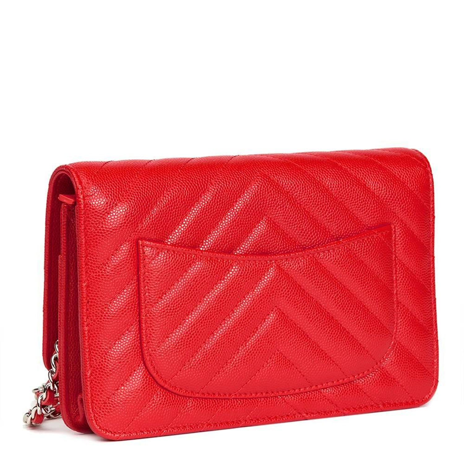 bfb336d54497 2017 Chanel Red Chevron Quilted Caviar Leather Wallet-On-Chain WOC at  1stdibs