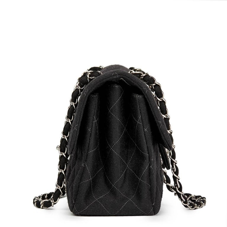 86bfdd3d9ea8 CHANEL Black Quilted Jersey Fabric Vintage Double Sided Medium Classic Flap  Bag This CHANEL Double Sided