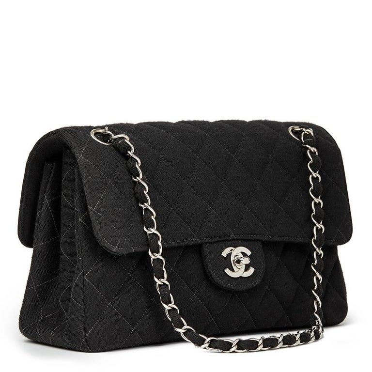 Chanel Black Jersey Vintage Double Sided Medium Classic Double Flap Bag, 1996  In Excellent Condition For Sale In Bishop's Stortford, Hertfordshire