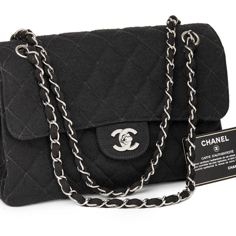 Chanel Black Jersey Vintage Double Sided Medium Classic Double Flap Bag, 1996  For Sale 5