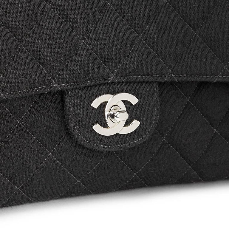 Chanel Black Jersey Vintage Double Sided Medium Classic Double Flap Bag, 1996  For Sale 1