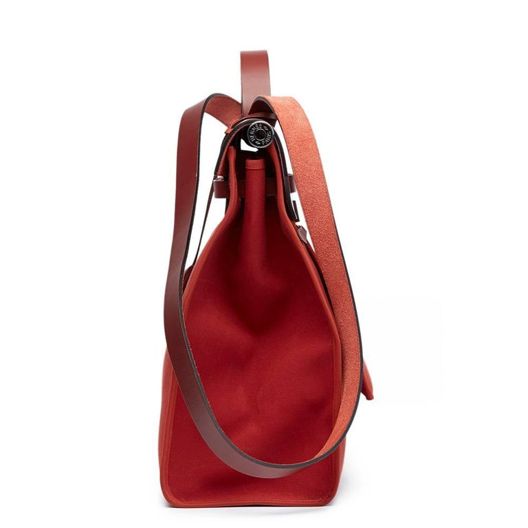 Red Hermes Rouge H Hunter Cowhide Leather and Rouge Venitienne Canvas  For Sale