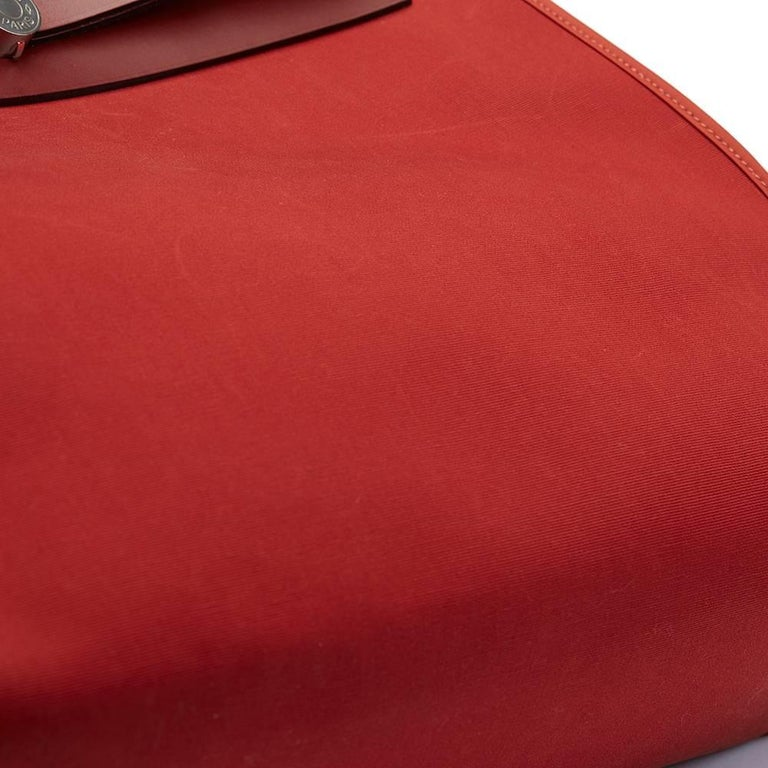Hermes Rouge H Hunter Cowhide Leather and Rouge Venitienne Canvas  For Sale 5
