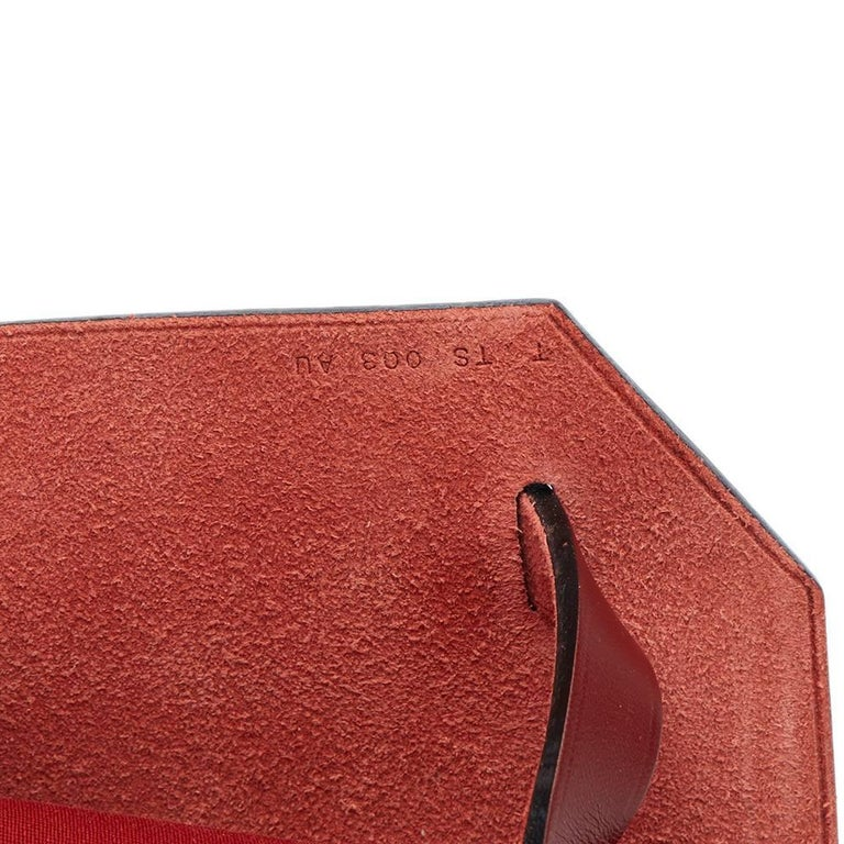 Hermes Rouge H Hunter Cowhide Leather and Rouge Venitienne Canvas  For Sale 3