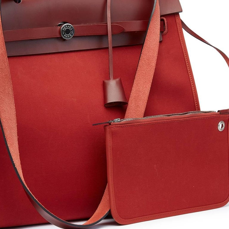 Hermes Rouge H Hunter Cowhide Leather and Rouge Venitienne Canvas  For Sale 4