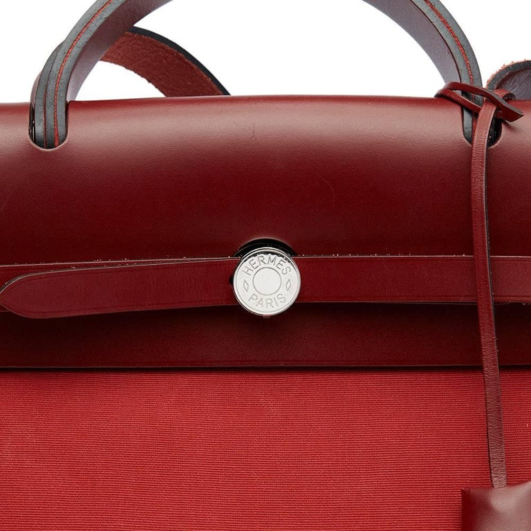 Hermes Rouge H Hunter Cowhide Leather and Rouge Venitienne Canvas  For Sale 1