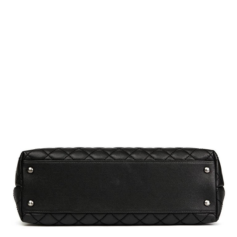Women's Chanel Black Quilted Caviar Leather Large Coco Handle  For Sale
