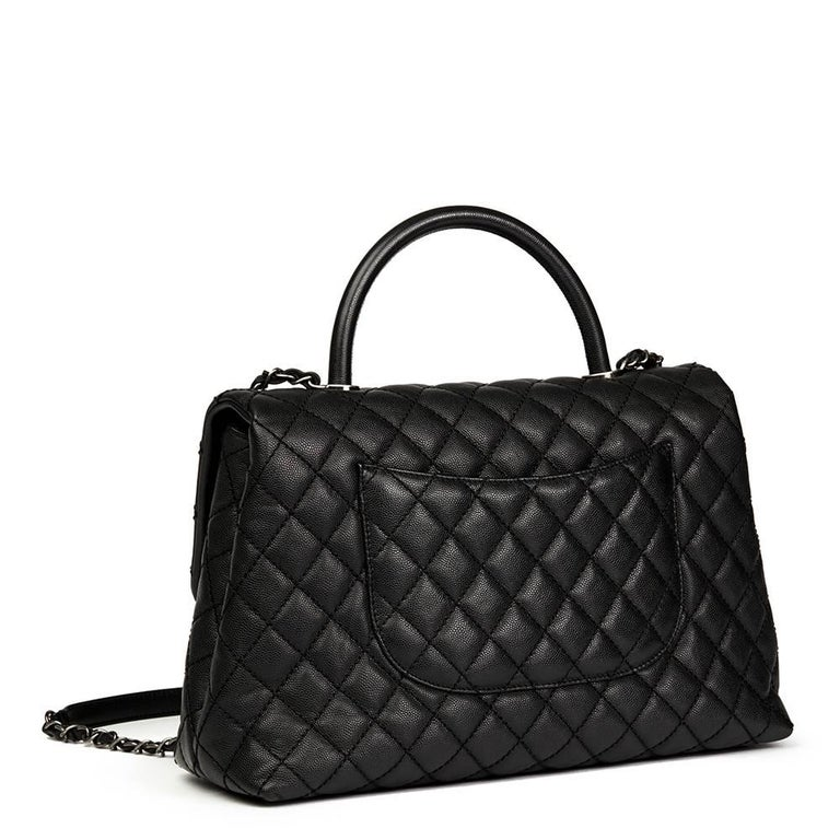 Chanel Black Quilted Caviar Leather Large Coco Handle  In Excellent Condition For Sale In Bishop's Stortford, Hertfordshire