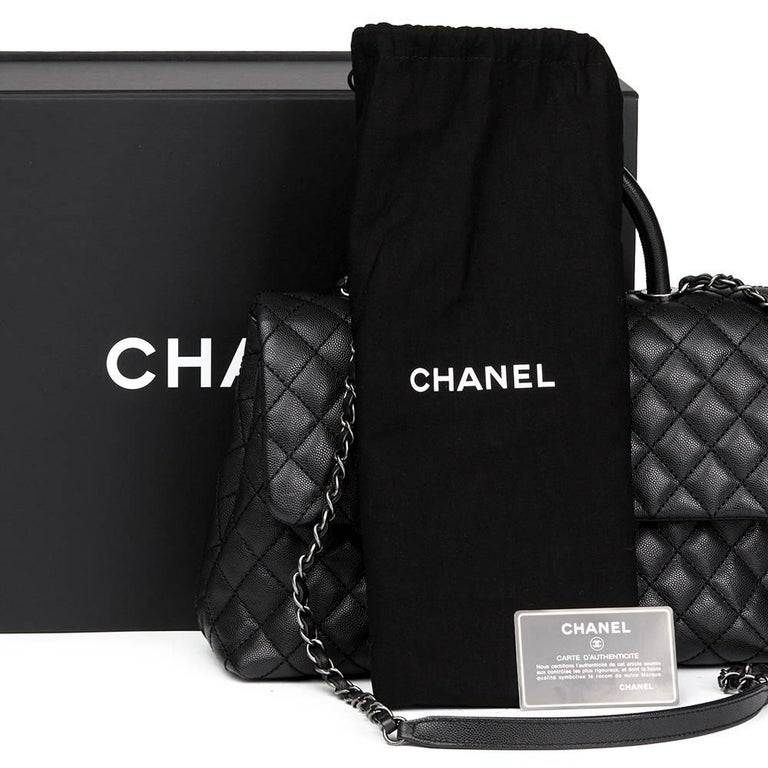 Chanel Black Quilted Caviar Leather Large Coco Handle  For Sale 5