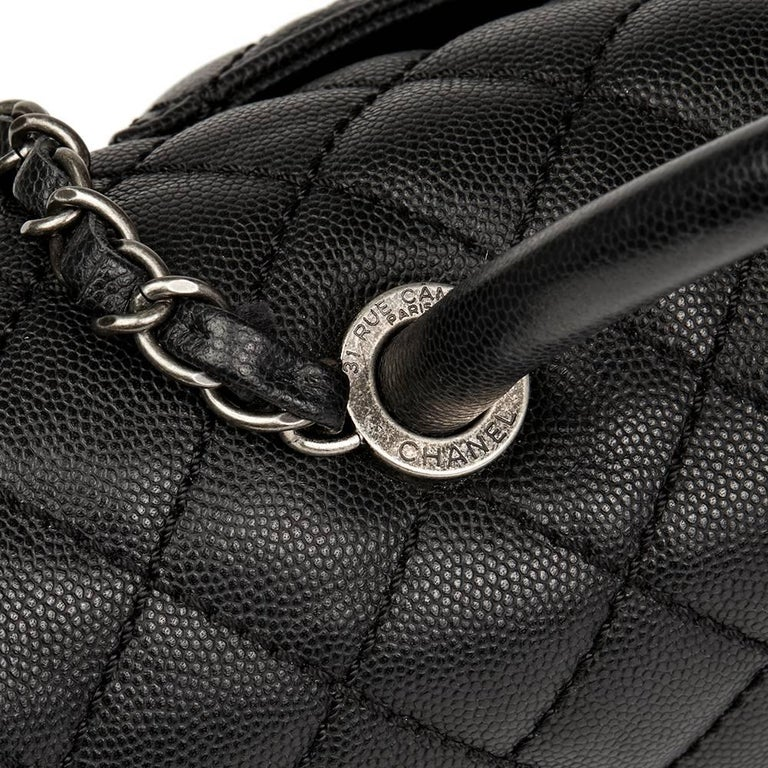 Chanel Black Quilted Caviar Leather Large Coco Handle  For Sale 4