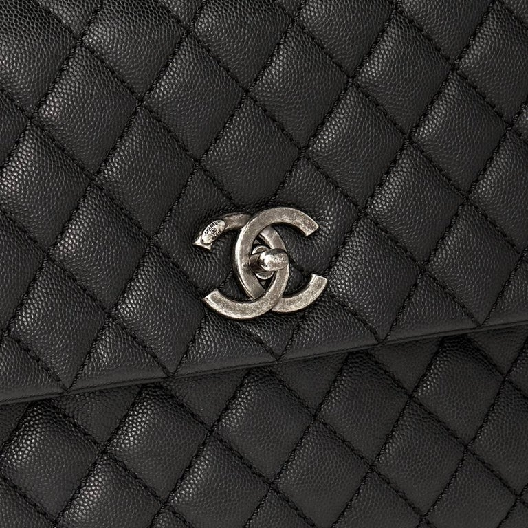 Chanel Black Quilted Caviar Leather Large Coco Handle  For Sale 3