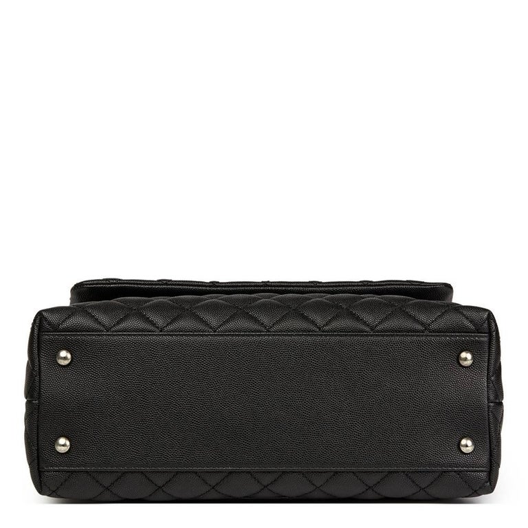 Women's Chanel Black Quilted Caviar Leather Medium Coco Handle  For Sale
