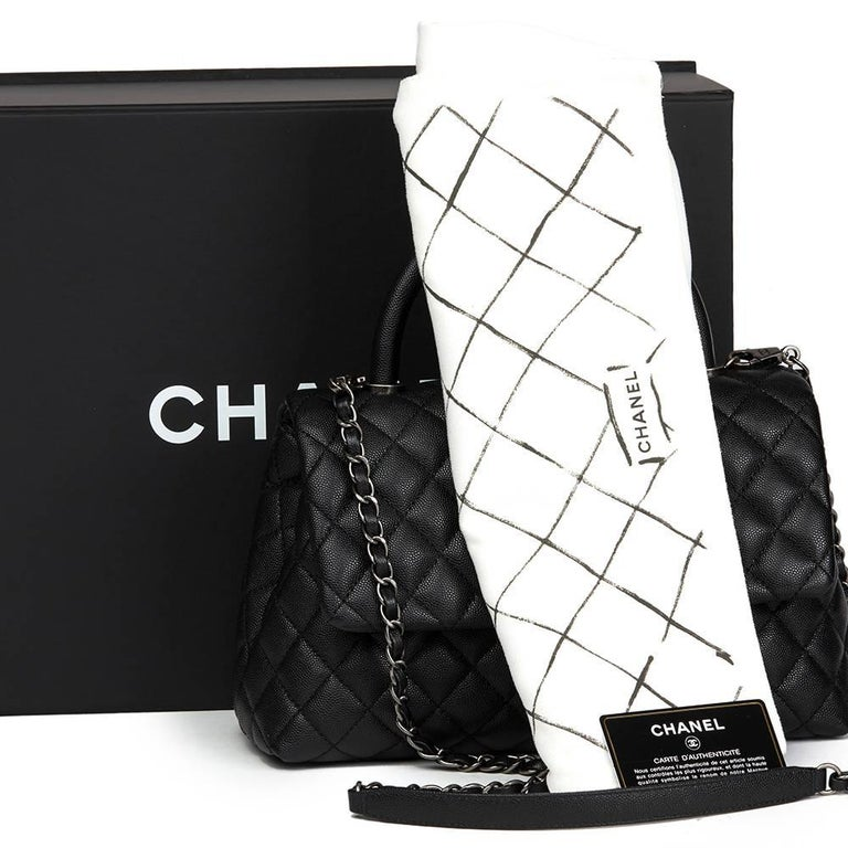Chanel Black Quilted Caviar Leather Medium Coco Handle  For Sale 5