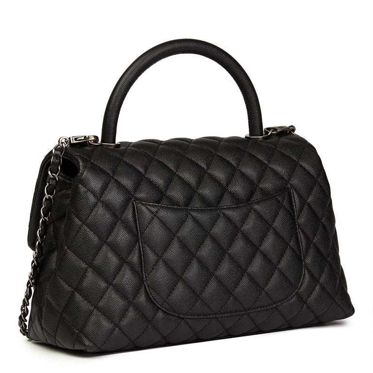 Chanel Black Quilted Caviar Leather Medium Coco Handle  In Excellent Condition For Sale In Bishop's Stortford, Hertfordshire