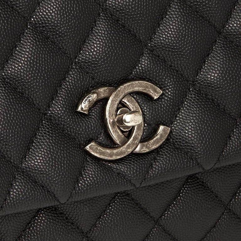 Chanel Black Quilted Caviar Leather Medium Coco Handle  For Sale 1