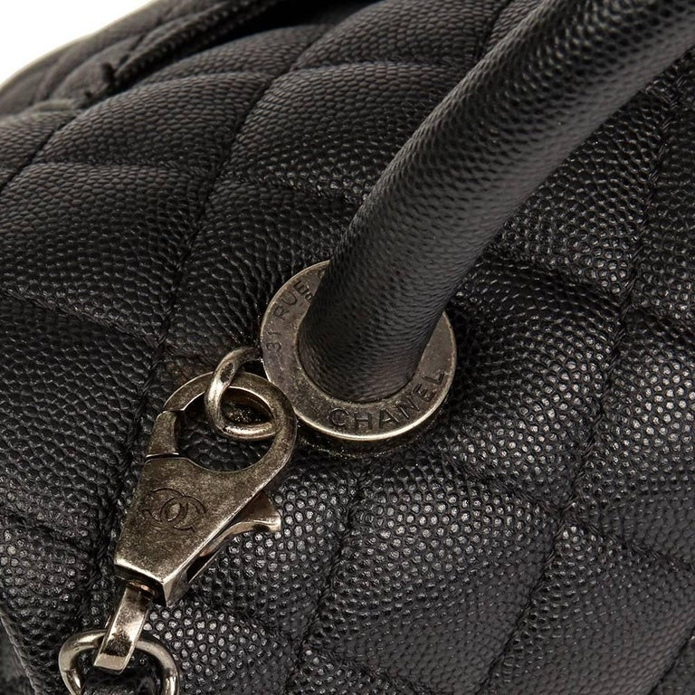 Chanel Black Quilted Caviar Leather Medium Coco Handle  For Sale 2