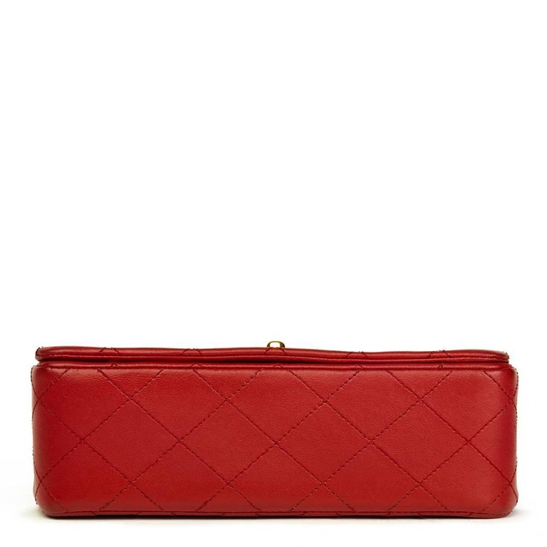 1990s Chanel Red Quilted Lambskin Vintage Mini Flap Bag  For Sale 1
