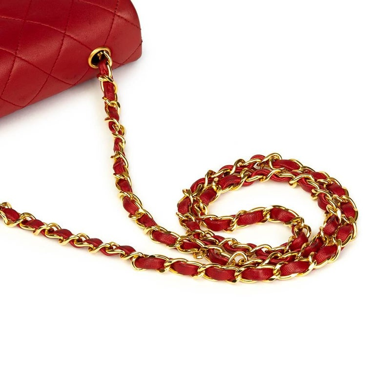 1990s Chanel Red Quilted Lambskin Vintage Mini Flap Bag  For Sale 3