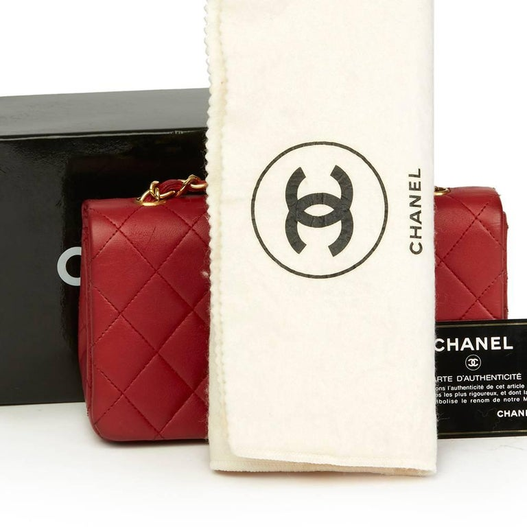 1990s Chanel Red Quilted Lambskin Vintage Mini Flap Bag  For Sale 5