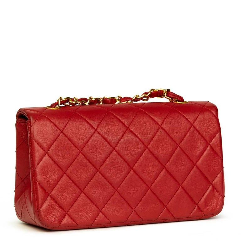 Women's 1990s Chanel Red Quilted Lambskin Vintage Mini Flap Bag  For Sale