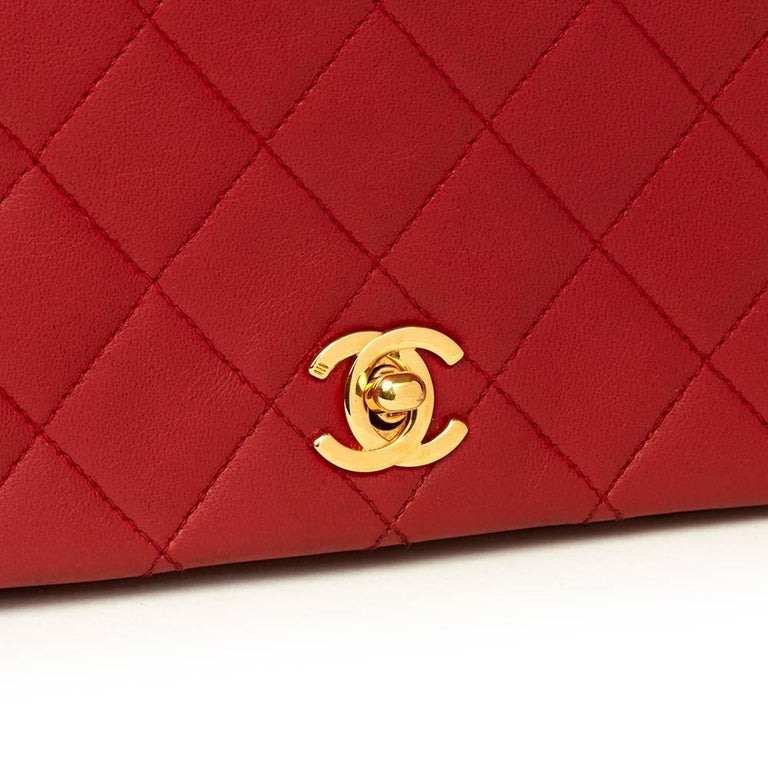 1990s Chanel Red Quilted Lambskin Vintage Mini Flap Bag  For Sale 2