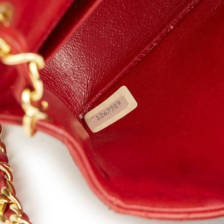 1990s Chanel Red Quilted Lambskin Vintage Mini Flap Bag  For Sale 4