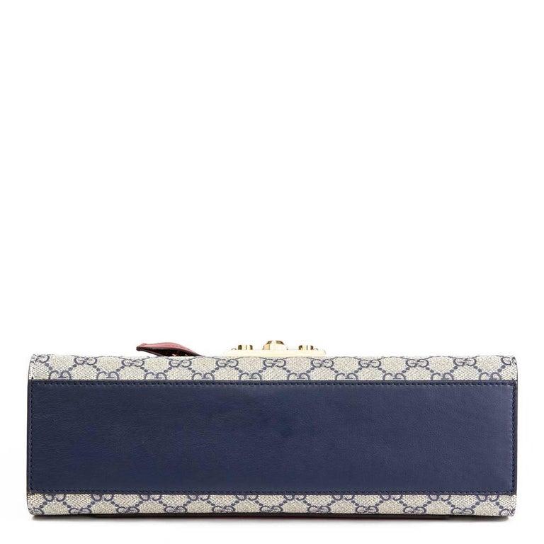 1b942d3b104f Gucci, Blue, White, Red Calfskin GG Supreme Canvas Padlock Shoulder Bag In  Excellent
