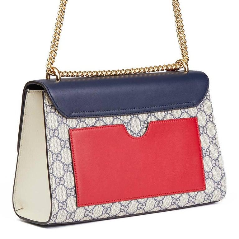 d7157649074f Black Gucci, Blue, White, Red Calfskin GG Supreme Canvas Padlock Shoulder  Bag For