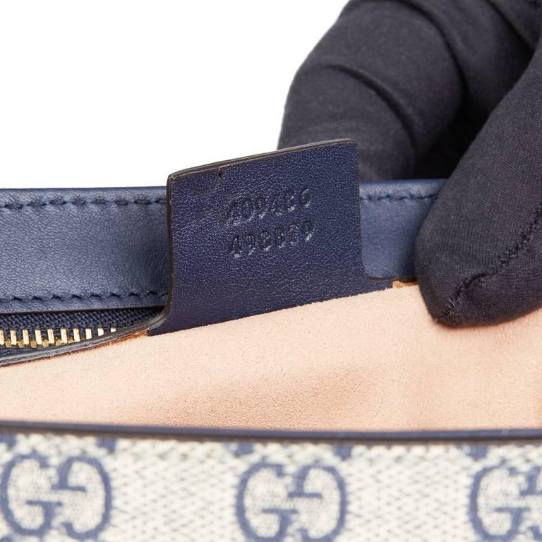 576a0ddbca53 Gucci, Blue, White, Red Calfskin GG Supreme Canvas Padlock Shoulder Bag For  Sale