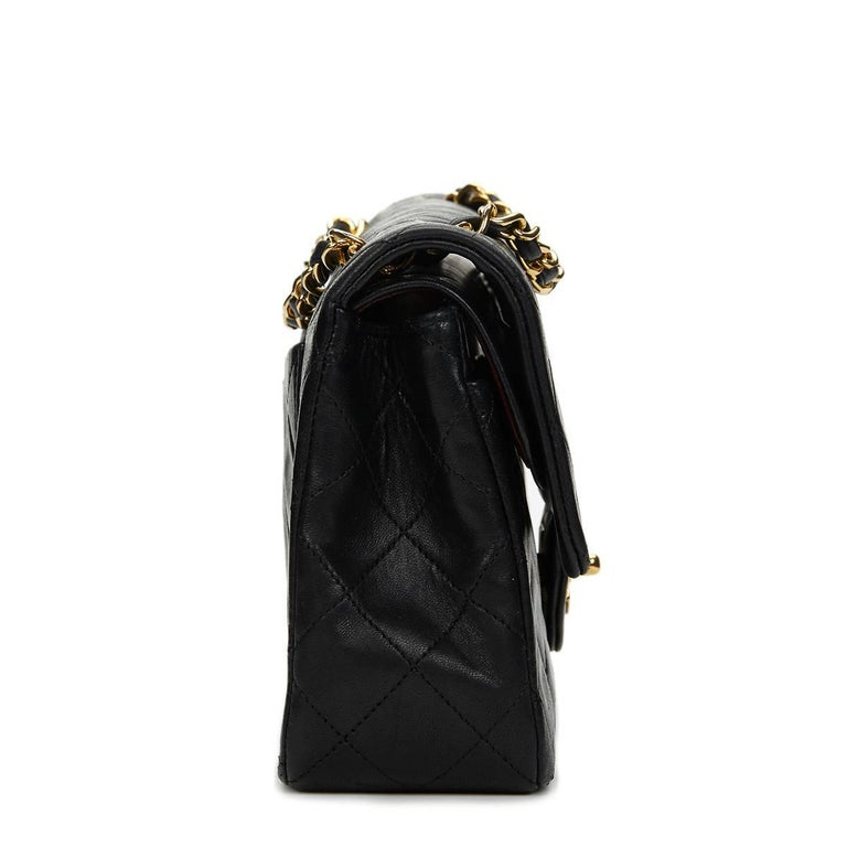 f2dc1990 Chanel Black Quilted Lambskin Vintage Small Classic Double Flap Bag