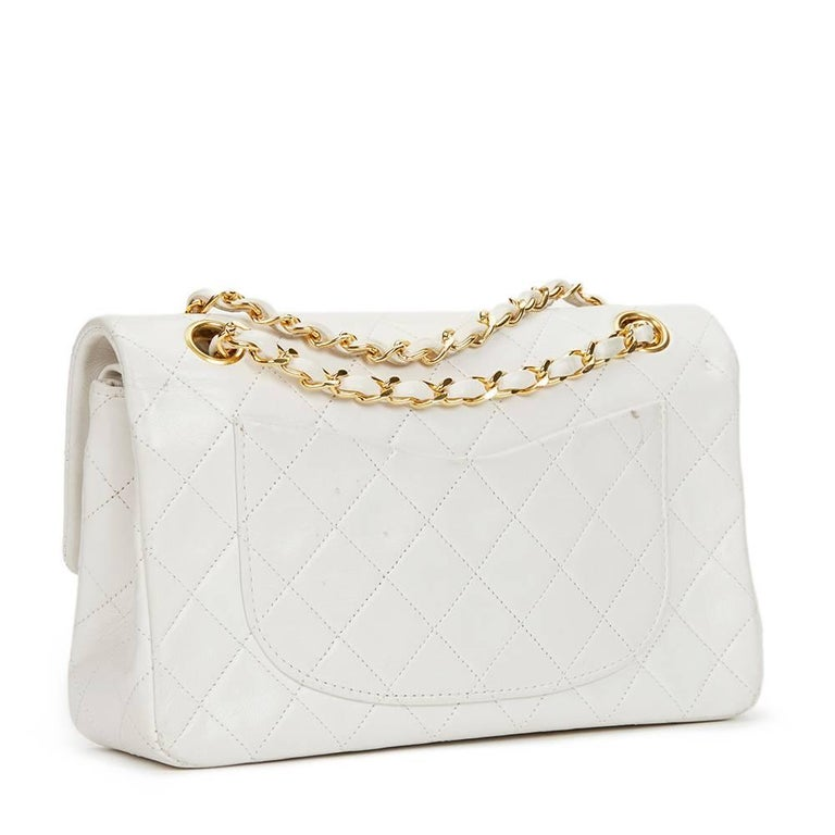 Gray Chanel White Quilted Lambskin Vintage Small Classic Double Flap Bag  For Sale