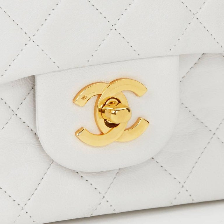 Women's Chanel White Quilted Lambskin Vintage Small Classic Double Flap Bag  For Sale