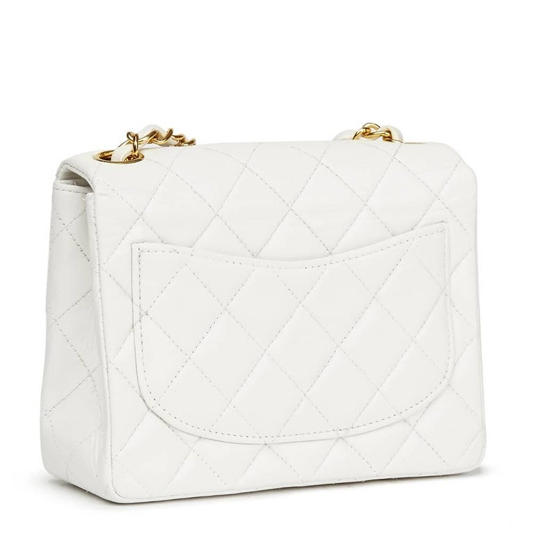 Gray 1990s Chanel White Quilted Lambskin Vintage Mini Flap Bag  For Sale