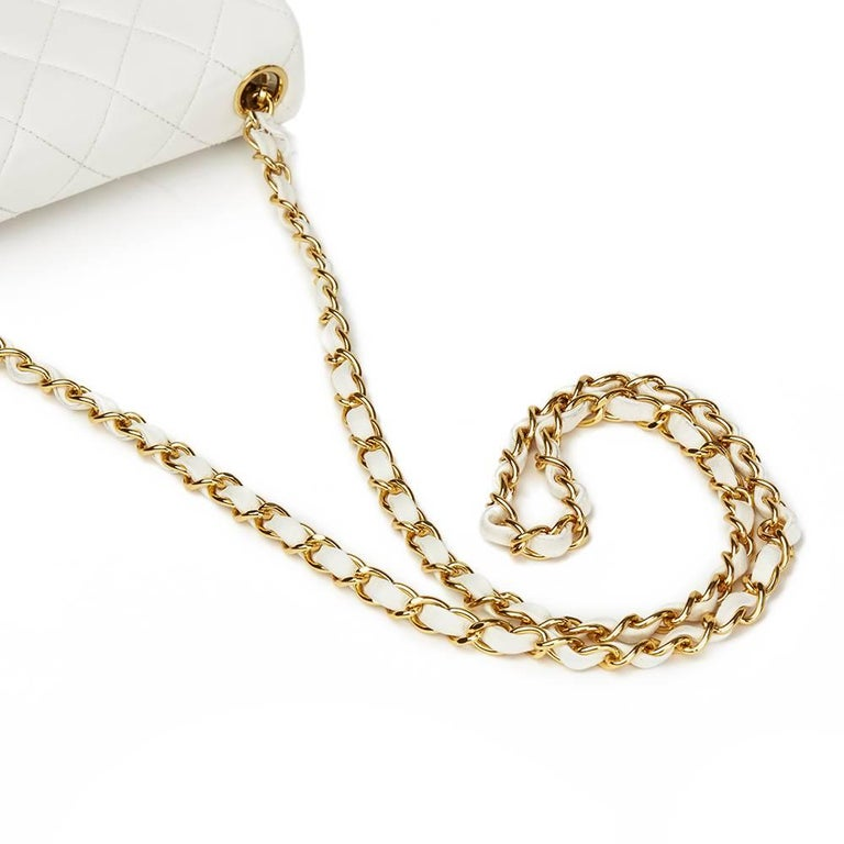 1990s Chanel White Quilted Lambskin Vintage Mini Flap Bag  For Sale 1