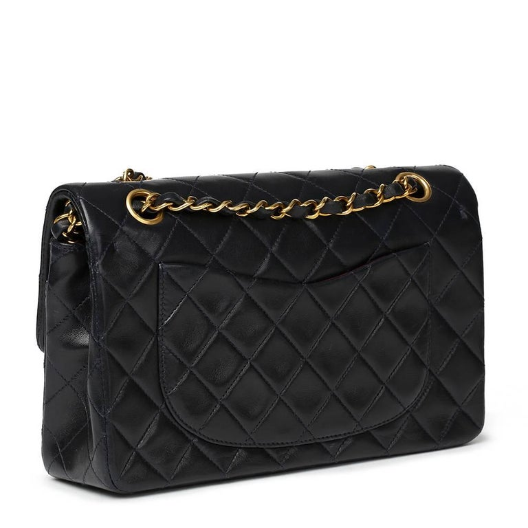 e6e22edd0db89 Black Chanel Navy Quilted Lambskin Vintage Small Classic Double Flap Bag  For Sale