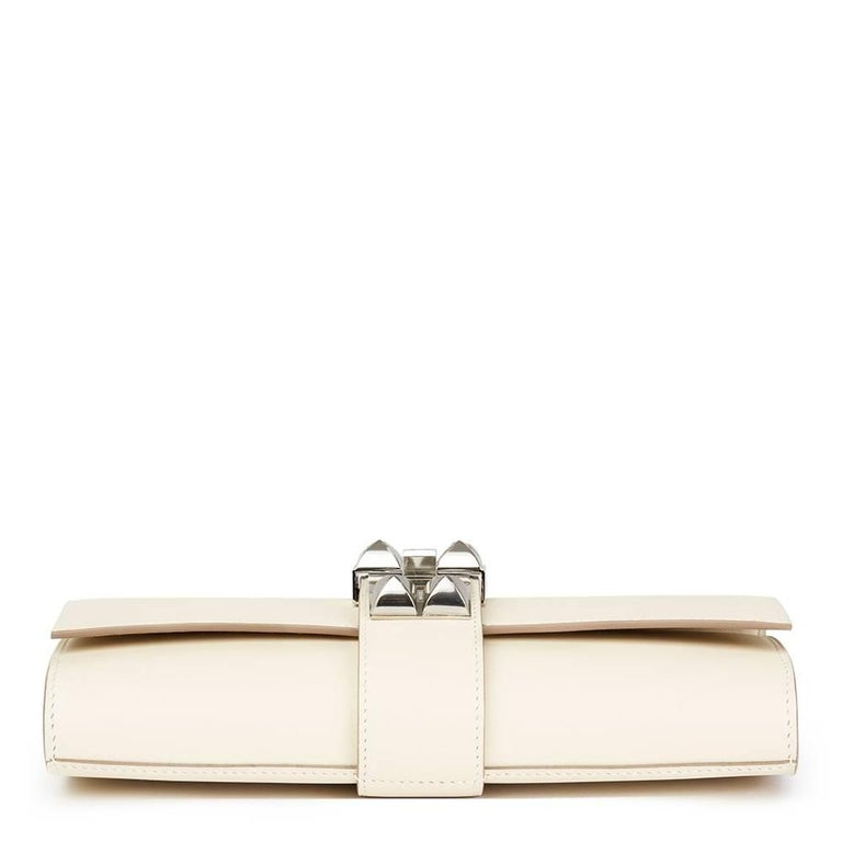 2a6f5ed3ce5 White Hermes Craie Swift Leather Medor 23 Clutch For Sale
