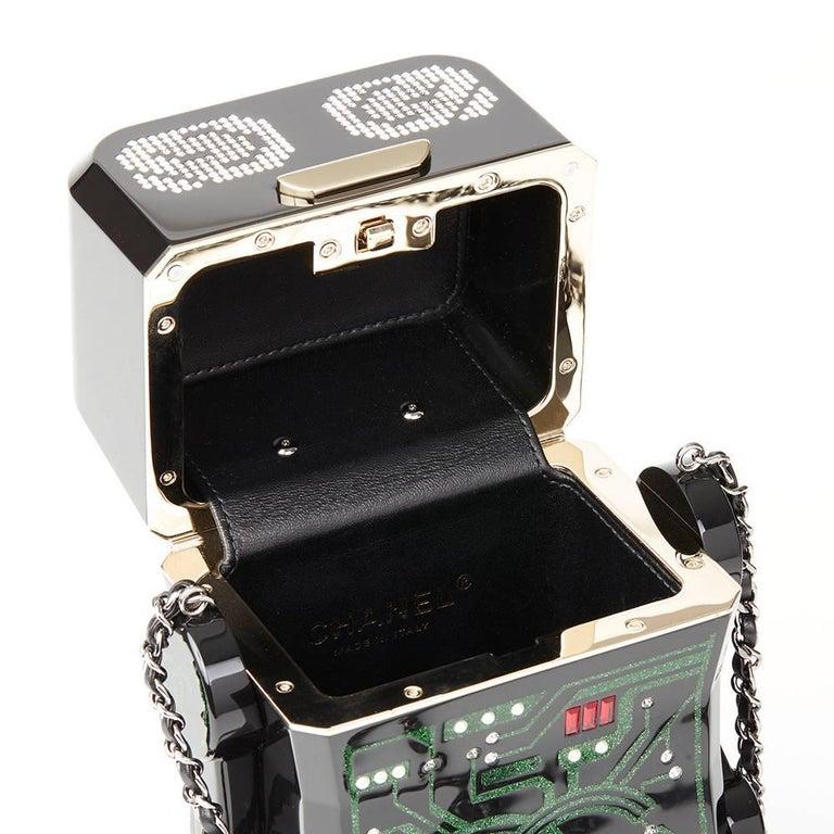 80d212e0f92b95 Chanel Black Glittered Plexiglass Robot Minaudiere For Sale 4