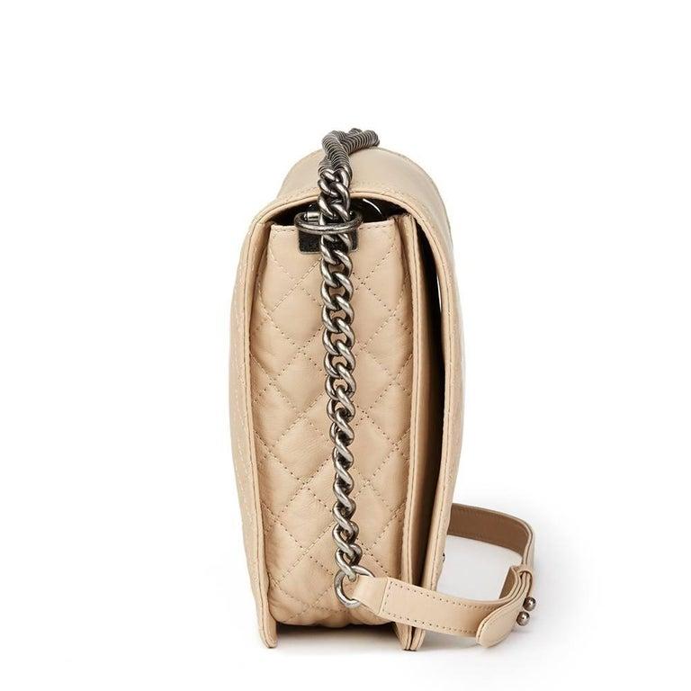 2014 Chanel Beige Quilted Lambskin XL Le Boy Reverso In Excellent Condition In Bishop's Stortford, Hertfordshire