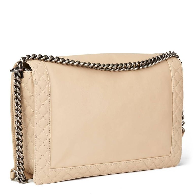 Women's 2014 Chanel Beige Quilted Lambskin XL Le Boy Reverso For Sale