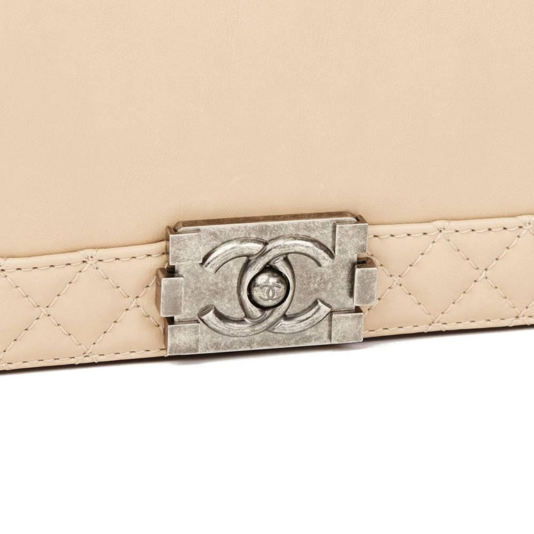2014 Chanel Beige Quilted Lambskin XL Le Boy Reverso For Sale 2