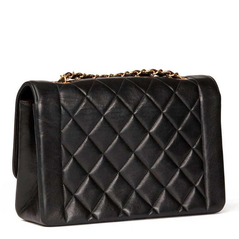 Women's Chanel Black Quilted Lambskin Vintage Medium Diana Classic Single Flap Bag  For Sale