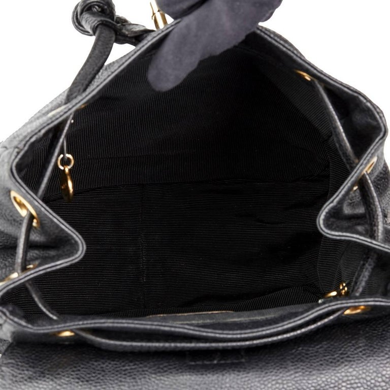 Chanel 1990s Chanel Black Caviar Leather Vintage Timeless Backpack For Sale 5