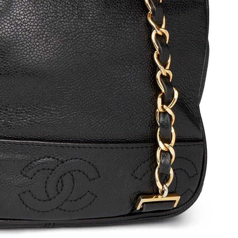 Chanel 1990s Chanel Black Caviar Leather Vintage Timeless Backpack For Sale 3