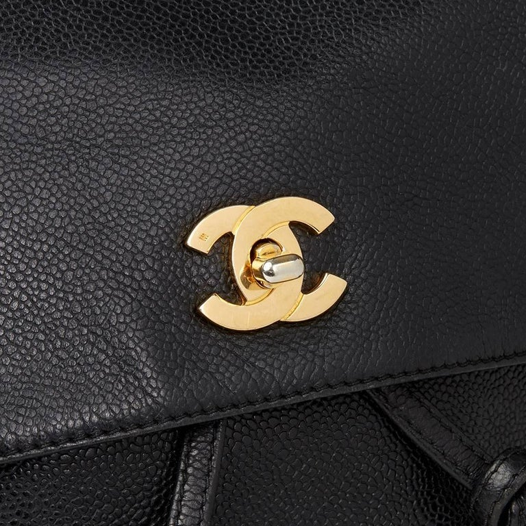 Chanel 1990s Chanel Black Caviar Leather Vintage Timeless Backpack For Sale 2