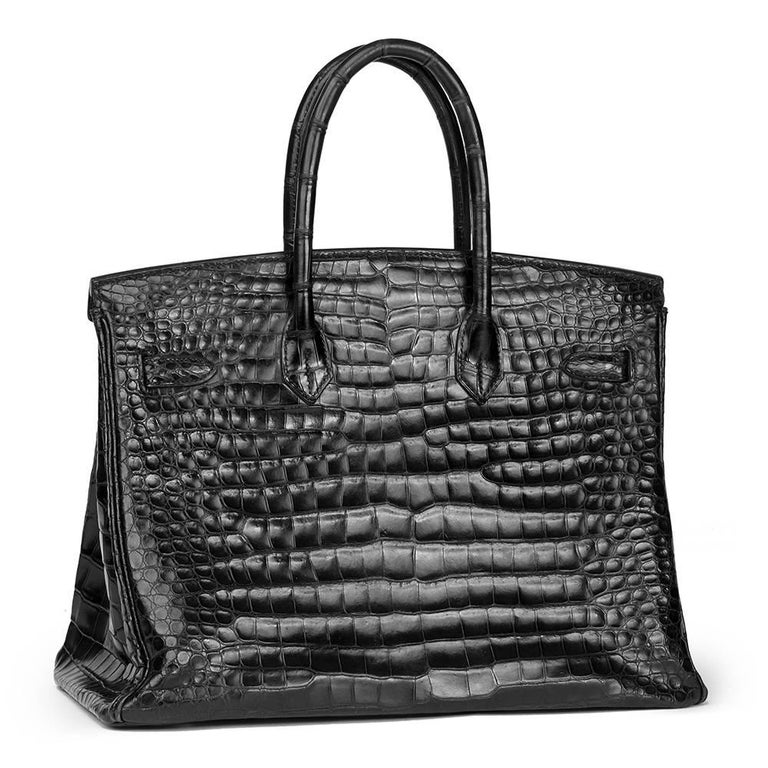 Women's Hermès 2003 Black Shiny Porosus Crocodile Leather Birkin 35cm For Sale