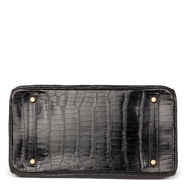 Hermès 2003 Black Shiny Porosus Crocodile Leather Birkin 35cm For Sale 1