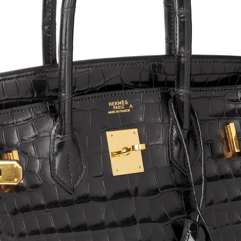 Hermès 2003 Black Shiny Porosus Crocodile Leather Birkin 35cm For Sale 3