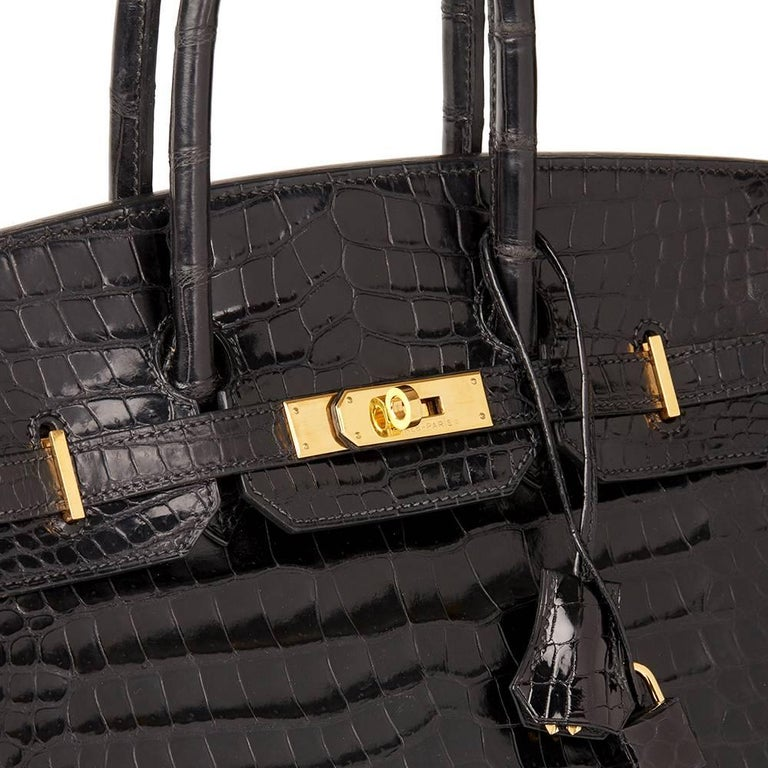Hermès 2003 Black Shiny Porosus Crocodile Leather Birkin 35cm For Sale 2