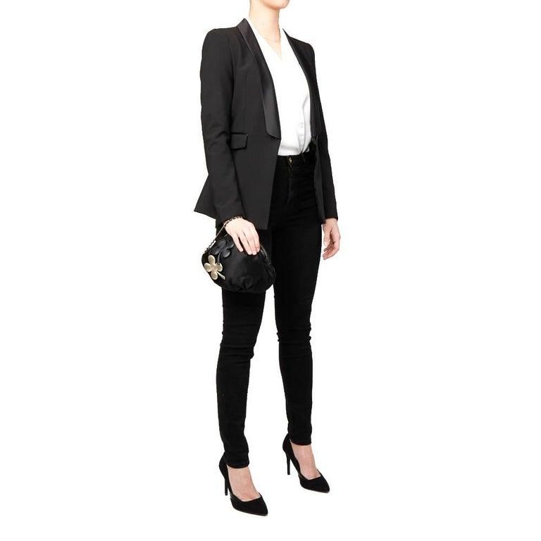 Chanel Black Satin Timesless Four Leaf Clover Wristlet Clutch  For Sale 6
